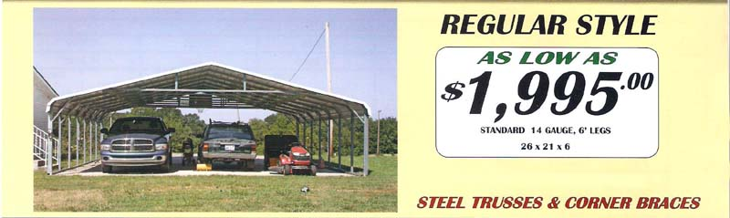 Utility Carports with 10' Enclosure